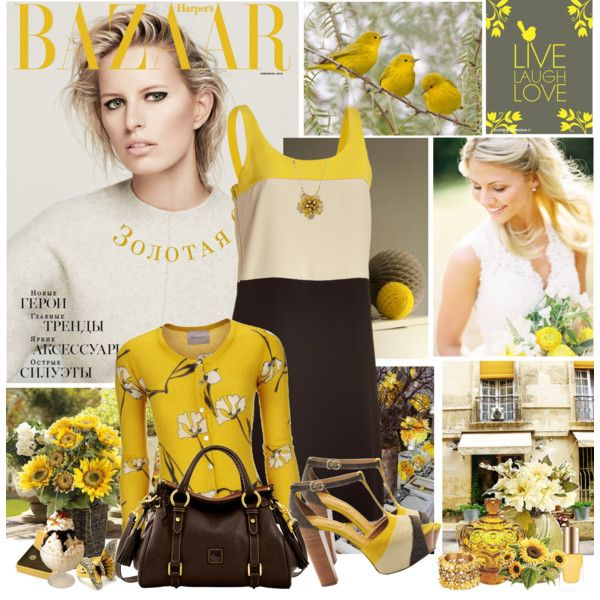 Brown and Yellow by littlesheri on Polyvore featuring мода, DKNY, See by…