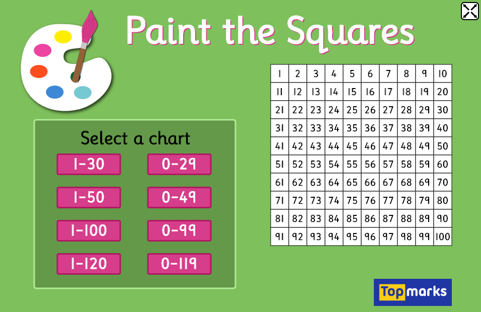 Paint the squares number charts has various sized interactive including hundred also rh pinterest