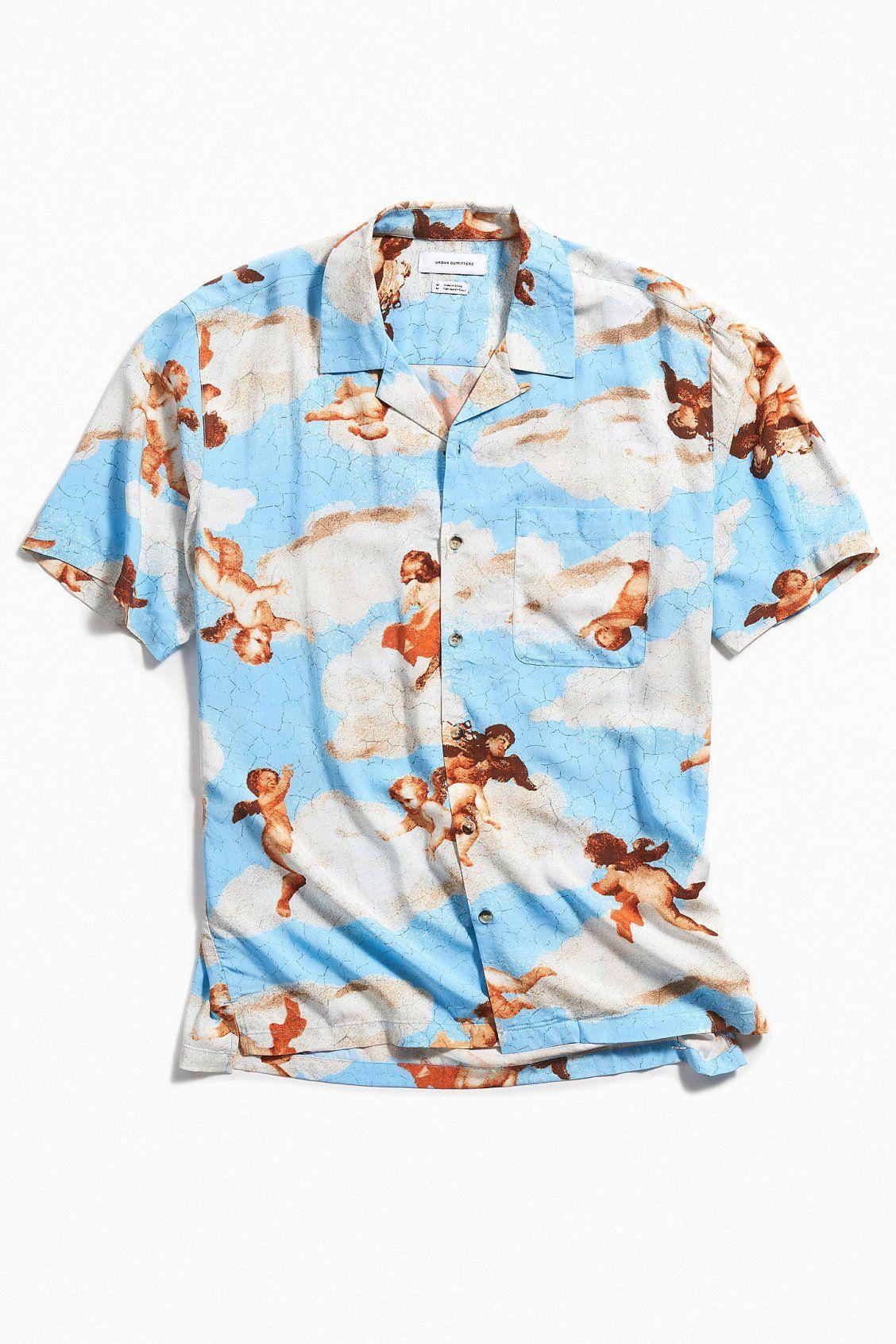 bad31b00 UO Cherub Rayon Short Sleeve Button-Down Shirt | Men's Essentials ...