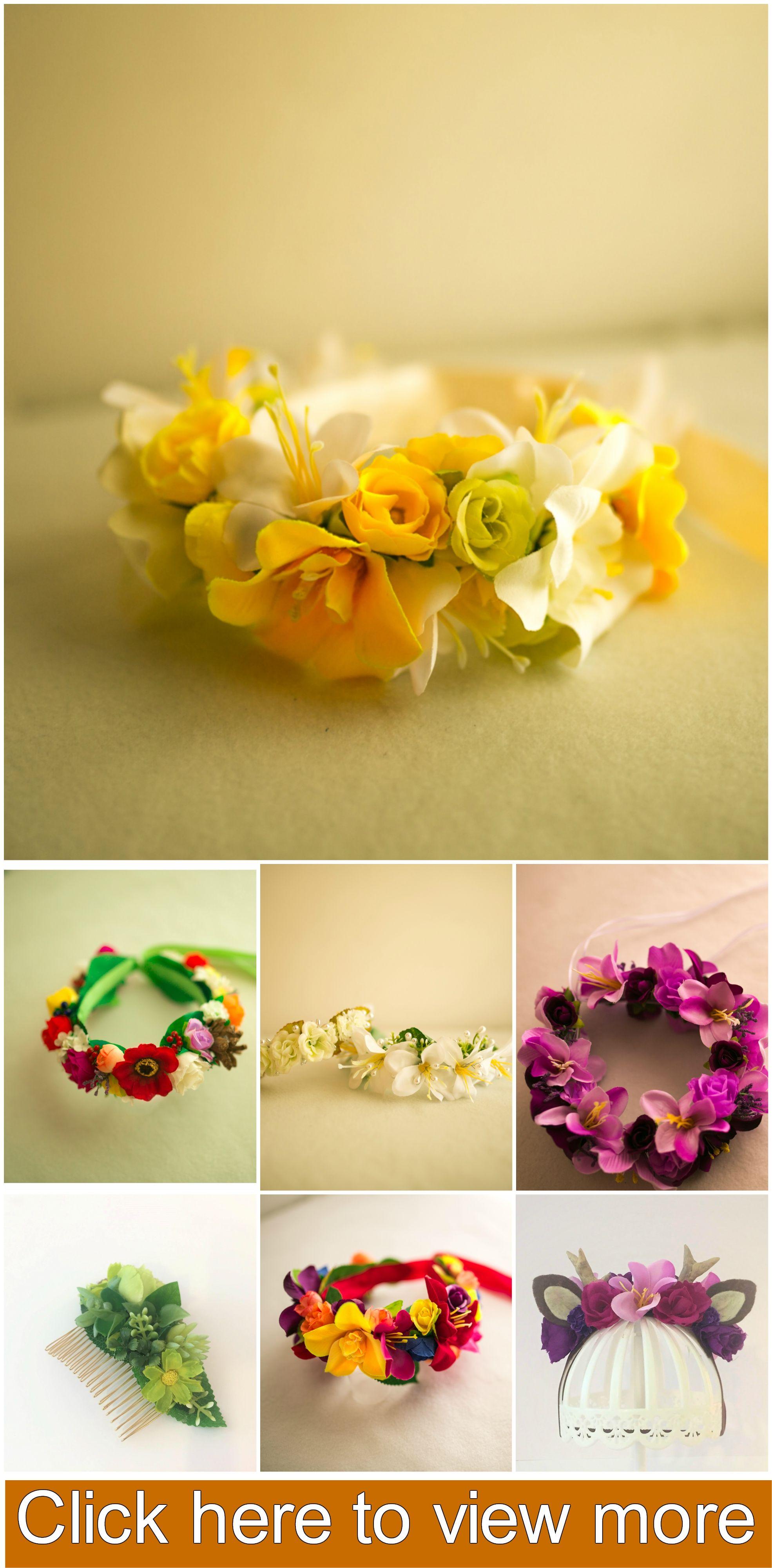 Yellow And White Silk Flower Crown Yellow Birthday Wreath Yellow