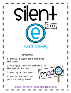 Silent e activity and worksheet