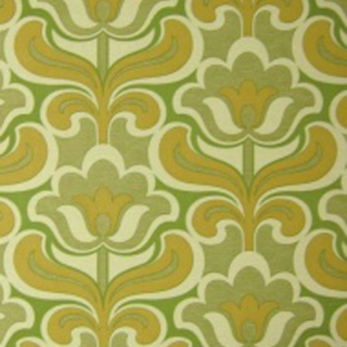 Rasch apples vinyl kitchen wallpaper 824506 cream cut price - Original Mid Century Modern Geo Floral Wallpaper Perfect Vintage Green 1970s