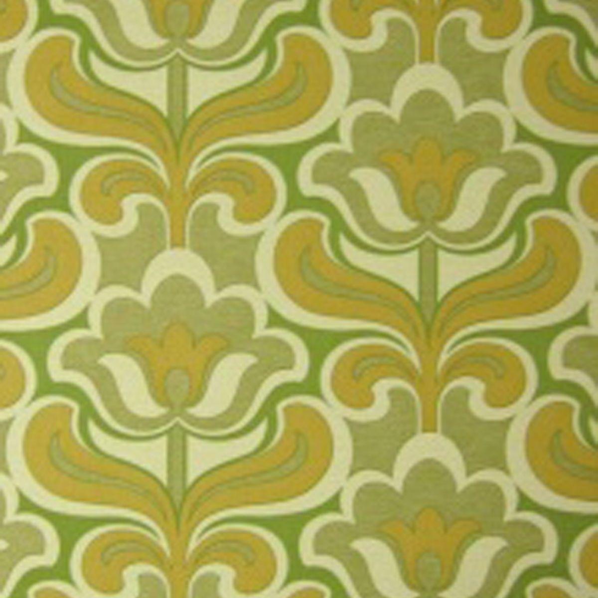 Kitchen Wallpaper Green: Original MID-CENTURY MODERN GEO-FLORAL Wallpaper