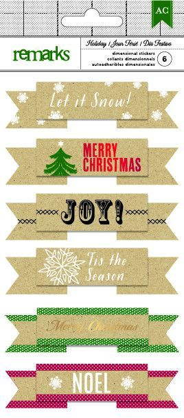 American Crafts - Holiday Dimensional Stickers, 6 count, Christmas