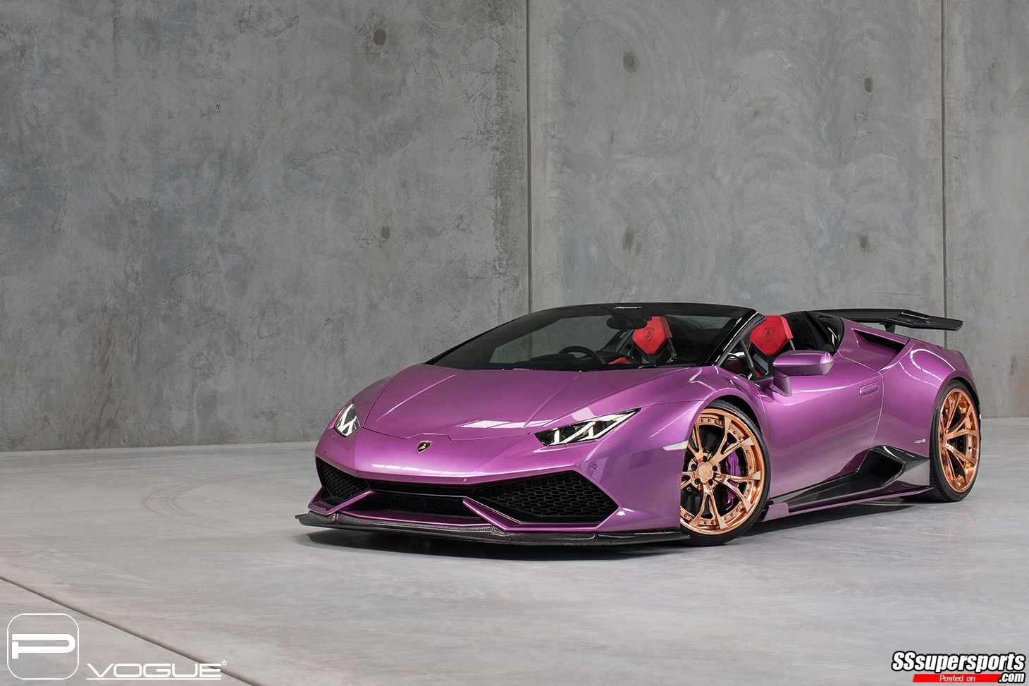 4 Purple Lamborghini Huracan Spyder Gold Rose Pur Wheels Front Side