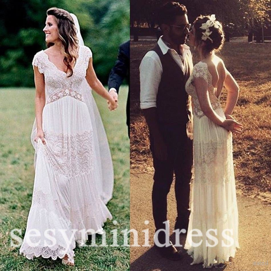 Lace Maternity Pregnant Wedding Dresses Backless Beach Vintage ...