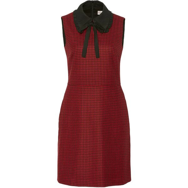 Red Valentino     Hounds tooth Dress With Organza Black Collar ($650) ❤ liked on Polyvore featuring dresses, red sleeveless dress, red houndstooth dress, houndstooth dress, frilly dresses and flouncy dress