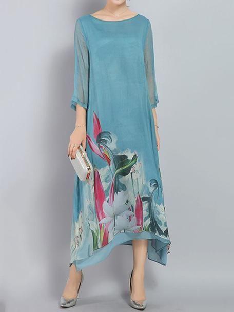 Elegant Ladies Printed Loose Irregular Hem 34 Sleeve Dresses Blue Dress For Women VGF100