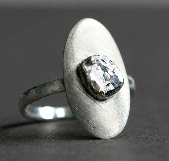 Oval Ring with Faceted Sterling Silver Stone