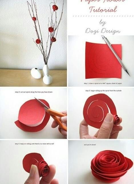 How To Make Paper Roses Craft Papier Bricolage Bricolage Papier