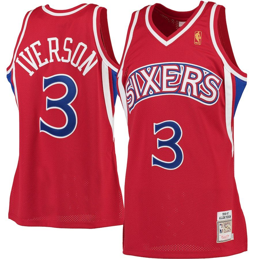 4e074ac2c81 Allen Iverson Philadelphia 76ers Mitchell   Ness 1996-97 Hardwood Classics  Rookie Authentic Jersey - Red