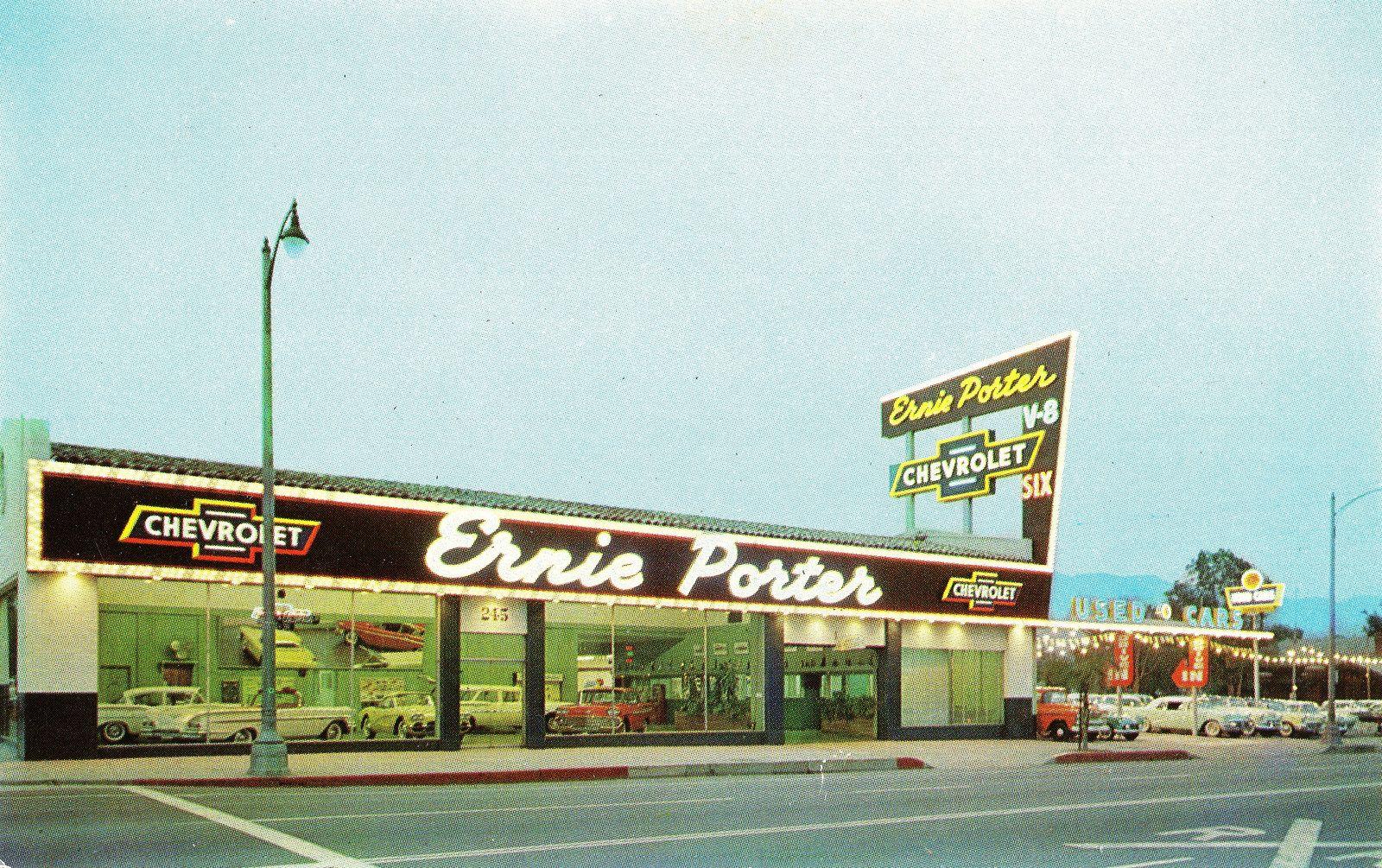 Ernie Porter Chevrolet Pasadena Ca 1958 Dealership Showroom Chevrolet Dealership Car Memorabilia
