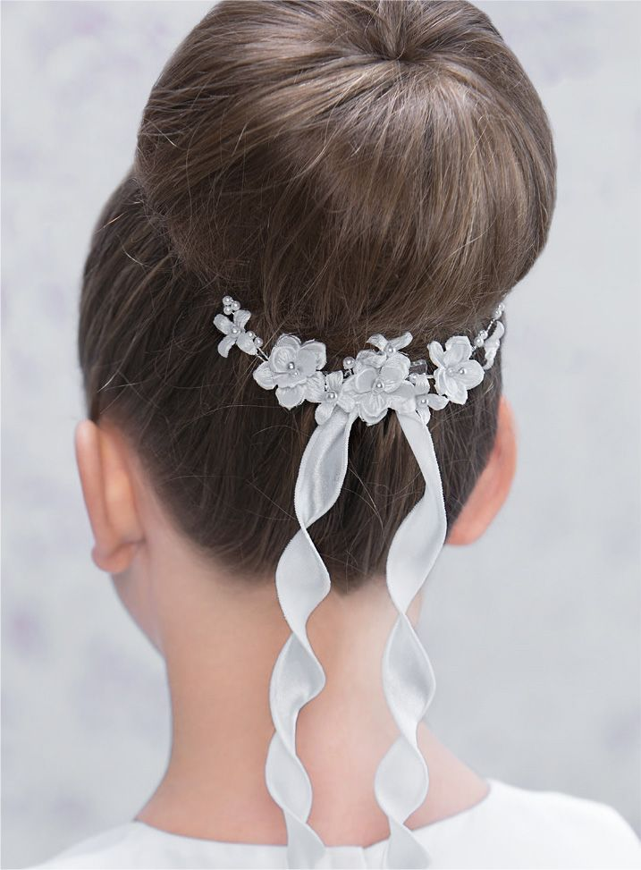 Modern Chic Floral First Communion Hair Comb with Ribbon Trails ...