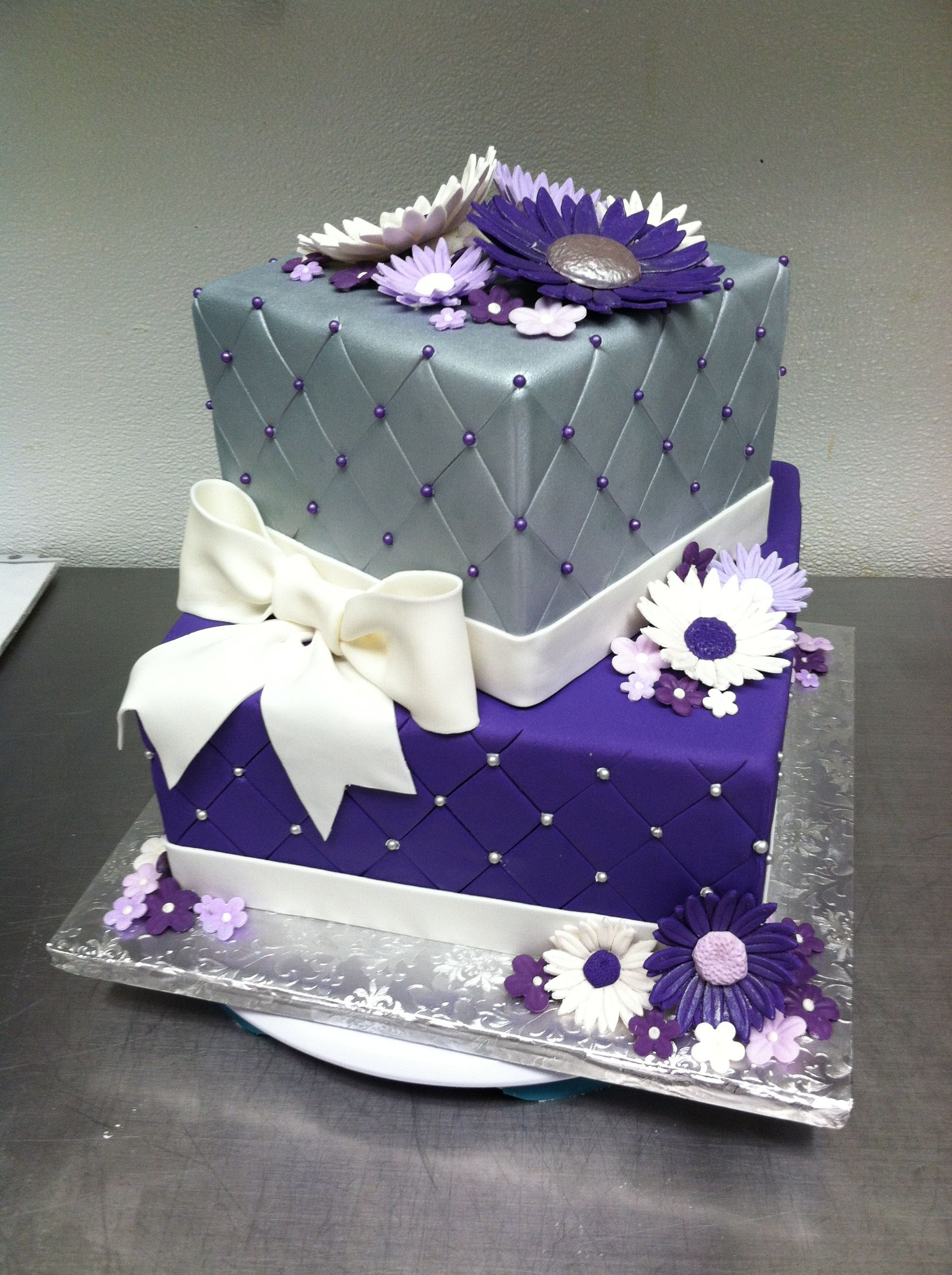 Fabulous Purple Silver Quilted Birthday Cake With Images Purple Cakes Funny Birthday Cards Online Ioscodamsfinfo