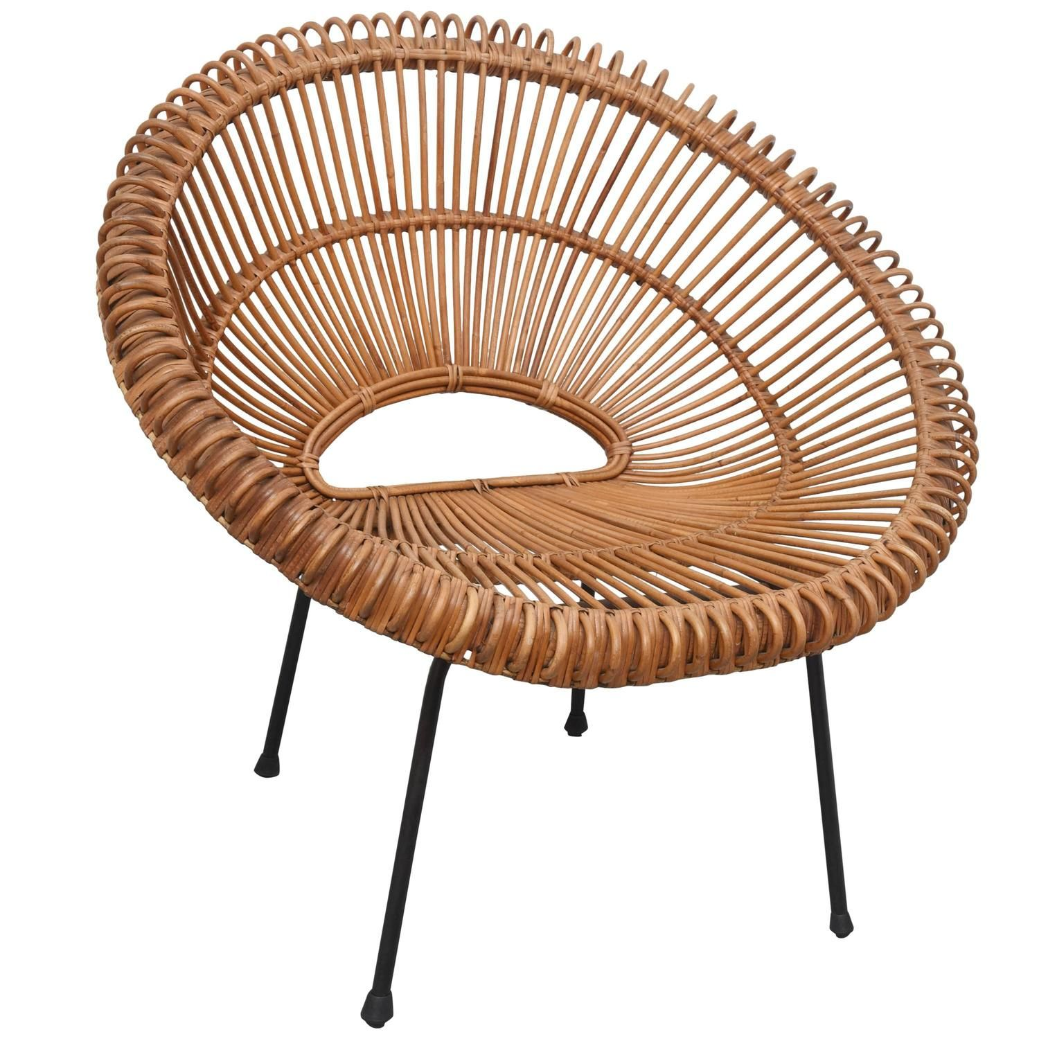 Rattan chair by janine abraham dirk jan rol france for Modern wicker dining chairs