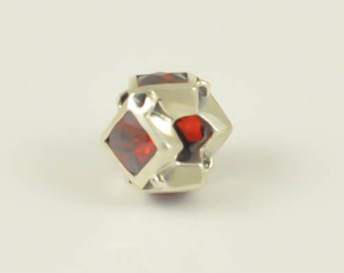 STERLING SILVER EUROPEAN CHARM BEAD RED STONE #Unbranded #European
