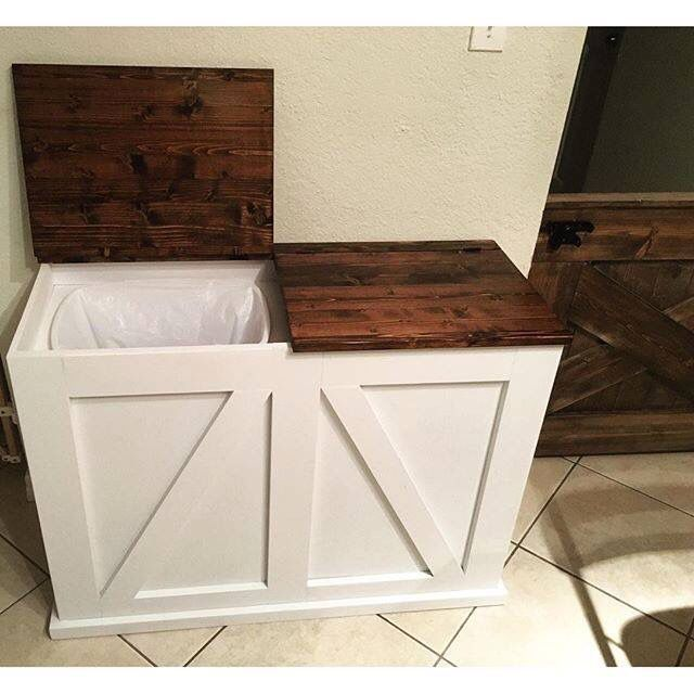 Double trash thats hidden now keeps it out of site but also double bin trash and recycling bin do it yourself home projects from ana white i would like this for the laundry room hamper solutioingenieria Images