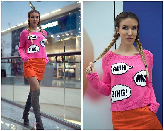Get this look: http://lb.nu/look/8472189  More looks by Jane D: http://lb.nu/moscowfashionblog  Items in this look:  Reebok Sweater, Topshop Orange Skirt   #casual #minimal #orange #pink
