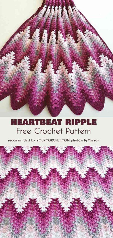 Heartbeat Ripple Blanket Free Crochet Pattern | Pinterest ...