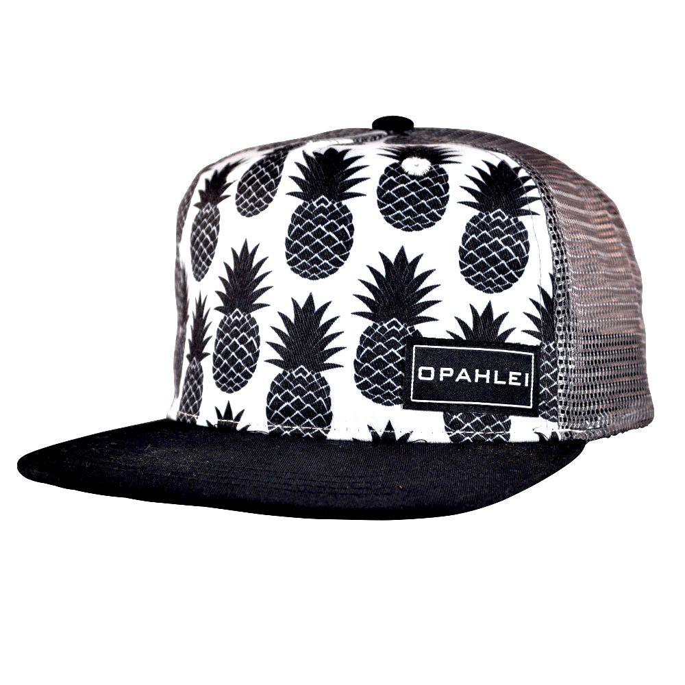 Black & White Pineapple PrintCrown WhiteSnap Black Bill Dark GrayMesh Back Structured