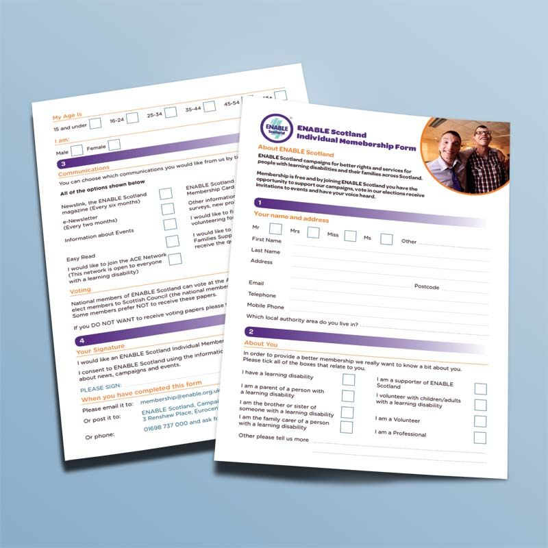 NATIONAL MEMBERSHIP FORM. Two page Application form design for ...