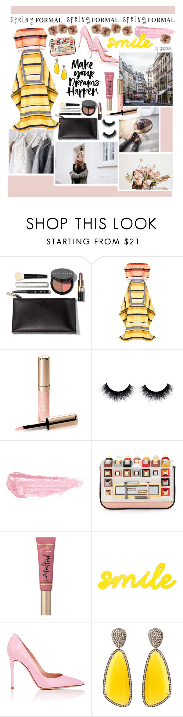 """Spring Formal"" by gabree ❤ liked on Polyvore featuring Bobbi Brown Cosmetics, Christian V Siriano, By Terry, Fendi, Too Faced Cosmetics, Gianvito Rossi, Christina Debs and Accessorize"