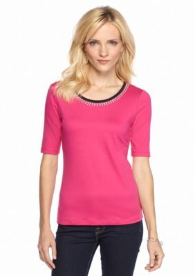 Ruby Rd  Petite Hide and Chic Embellished Scoop Neck Tee