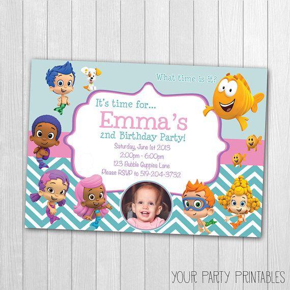 Bubble Guppies Invitation, Bubble Guppies Birthday Party, Bubble Guppies Birthday, Bubble Guppies Printable Invitation