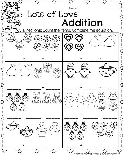 Kindergarten Math And Literacy Worksheets For February Planning Playtime Math Addition Worksheets Kindergarten Math Worksheets Addition Valentine Math Worksheet
