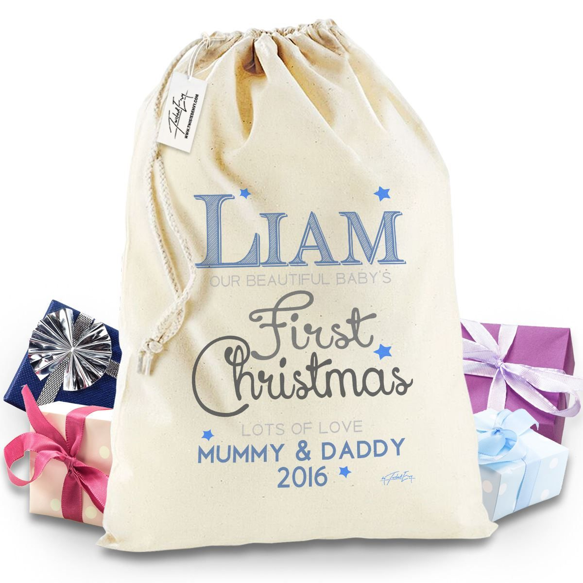 twisted envy personalised baby 039 s first christmas stocking christmas santa sack