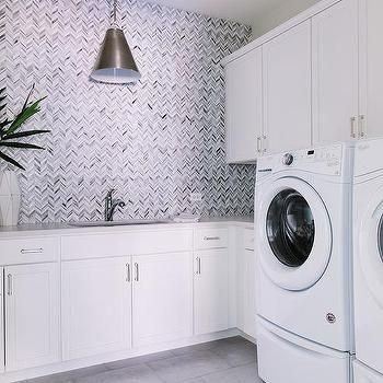 Best Gray Marble Chevron Tiles Backsplash Laundry Room 400 x 300