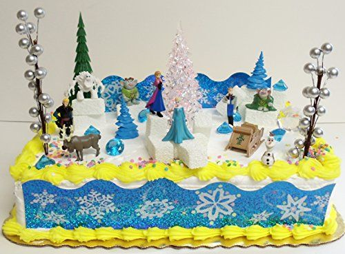Elsa and Anna Frozen 23 Piece Birthday Cake Topper Set Contrasting