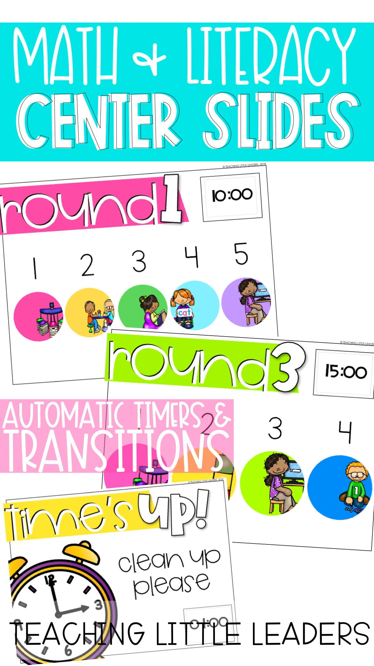 Math And Literacy Center Slides Bundle Editable And With Automatic Timers