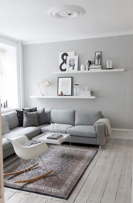 Salon Blanc Et Gris Avec Chaise à Bascule #houses #interiors #design #deco  · Living Room Ideas Modern GreyShelf ...