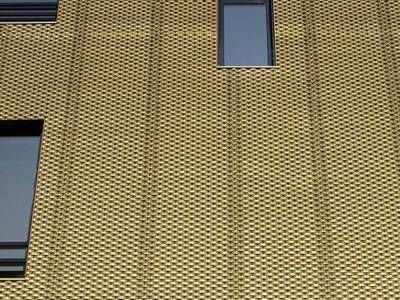 Golden Color Decorative Expanded Metal Mesh As The Wall