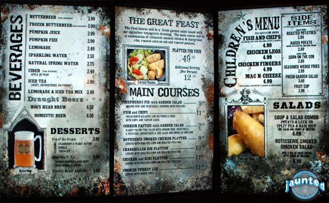 The Three Broomsticks menu The Wizarding World of Harry ...