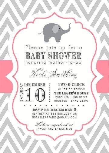 PRINTABLE Gray And Pink Chevron With Elephant Baby Shower Invitation    Colors Can Be Changed.