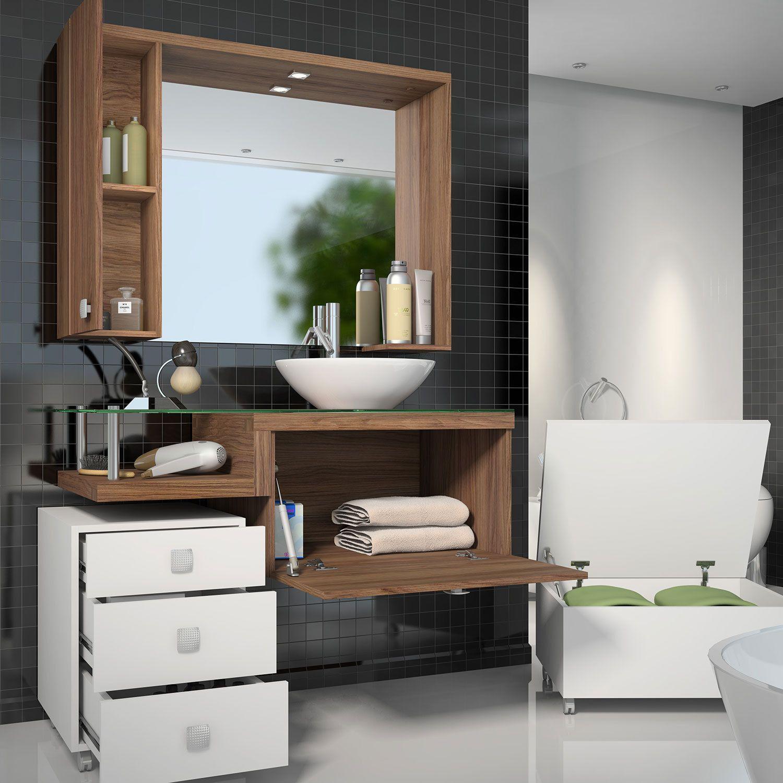 Armario Para Banheiro Com Espelheira Balcao Para Pia Gaveteiro E