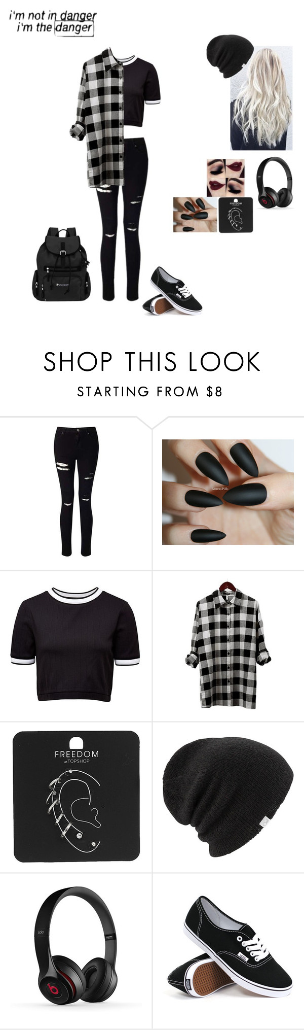 """""""School outfit #14"""" by weber-350 on Polyvore featuring Miss Selfridge, Disney, French Connection, Topshop, Coal, Vans, Sherpani, black and grey"""