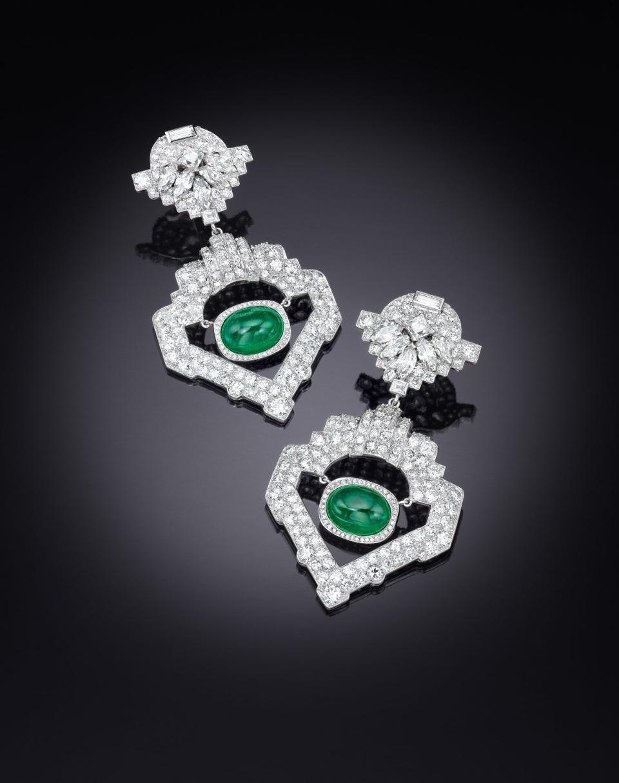 5316a951eeb9 Jackie Collins  diamond-emerald-white-gold-and-platinum-ear-pendants -  estimated  8