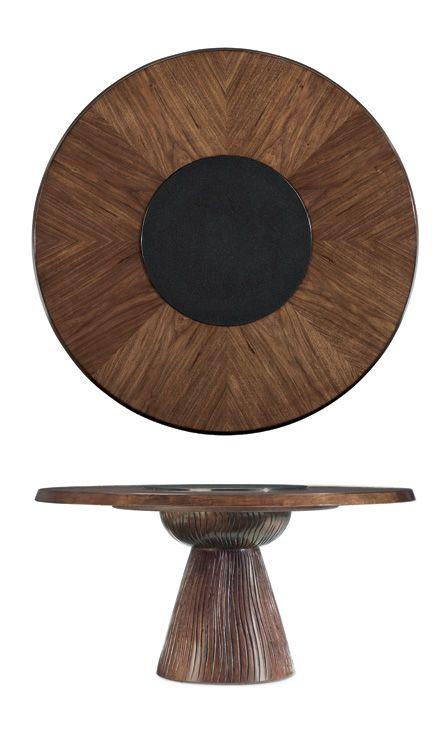 Fancy Face Walnut Veneer Round Dining Table Top Diameter 60 In With Black  Granite Lazy Susan