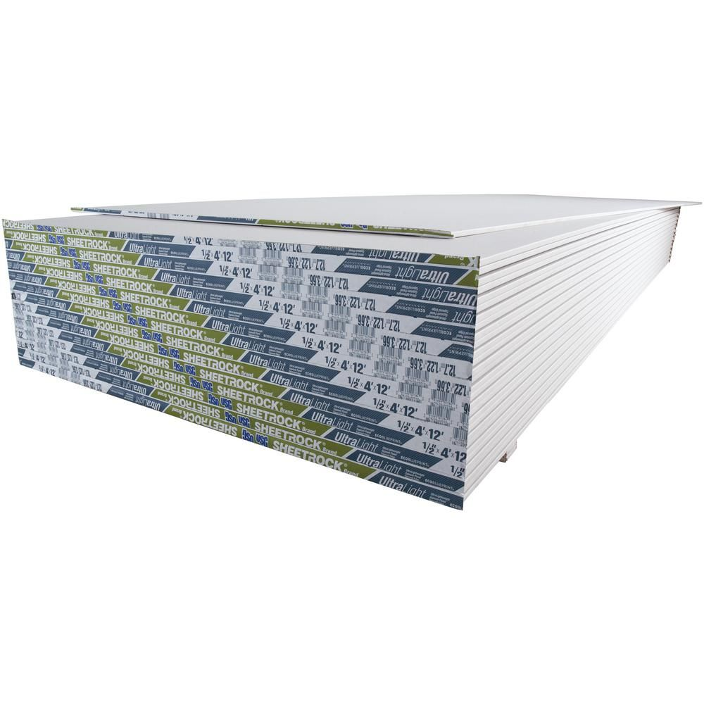Usg Sheetrock Brand 1 2 In X 4 Ft X 12 Ft Ultralight Panels 14113411712 The Home Depot In 2020 Sheetrock Paneling Basement Refinishing