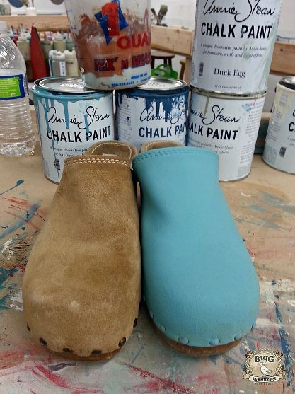 f7ba29410d7 Painting suede clogs in the studio at Big White Goose with Provence, Chalk  Paint®by Annie Sloan