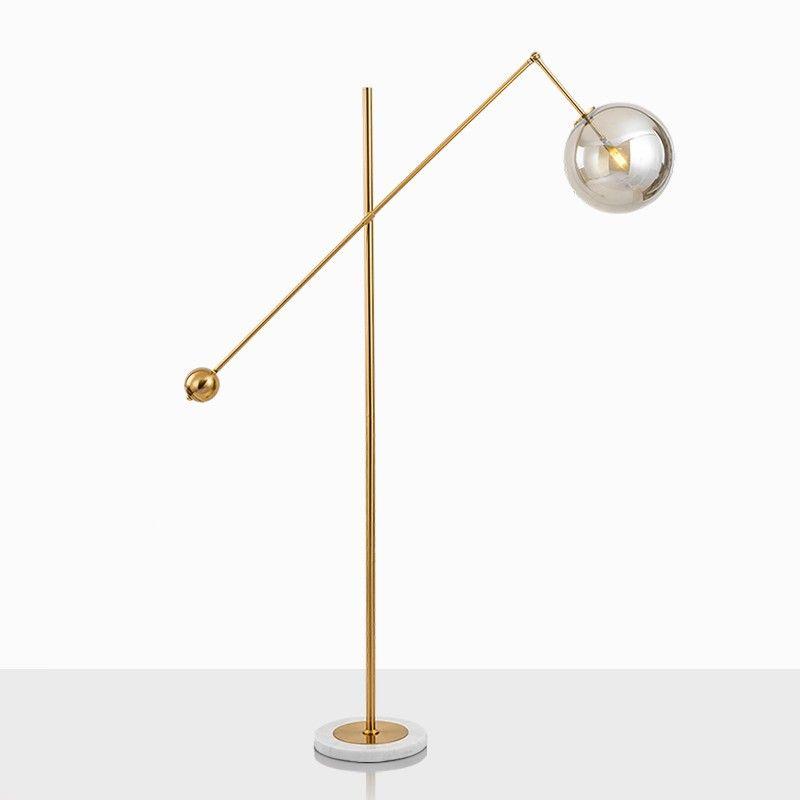 Modern Golden Color Glass Lampshade Floor Lamp With Led G9 Lamp In 2020 Glass Floor Lamp Golden Floor Lamps Floor Lamp