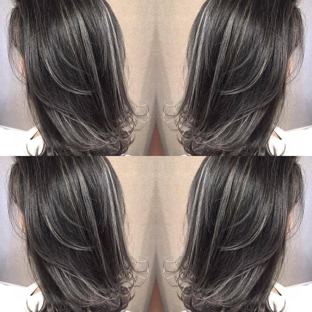 ストレートのハイライトカラー 黒髪ハイライト 髪型 髪 色