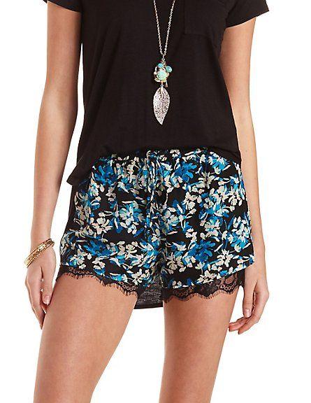 Lace-Trim Floral Chiffon Shorts #charlotterusse #charlottelook