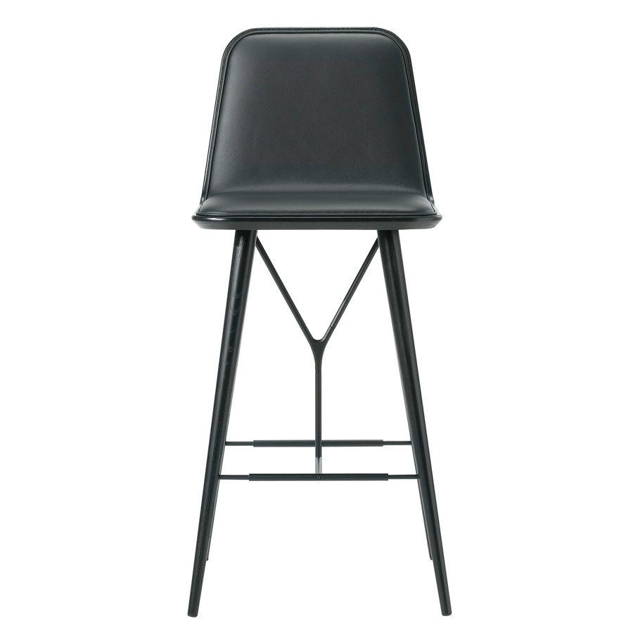 CASANOVA Møbler — Fredericia - Spine barstol (sort/sort læder) Bredde 45 cm, Dybde 51cm, Højde 104 cm, Sædehøjde: 74 cm.