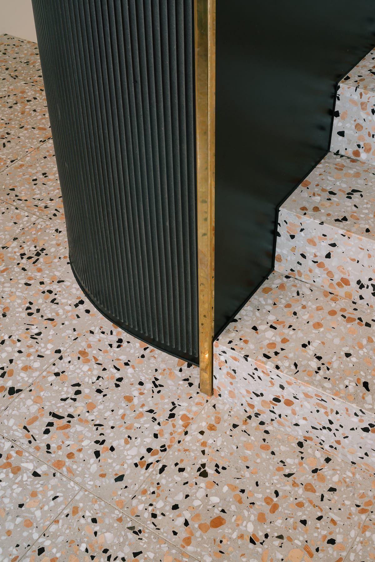 Terrazo Floor Combination Of Different Marbles Nomos Groupement D Architectes Terrazzo Terrazzo Tile Terrazo Flooring