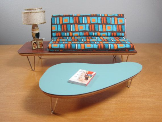 miniature modern furniture. 112 scale miniature midcentury modern sofa with attached end table furniture u