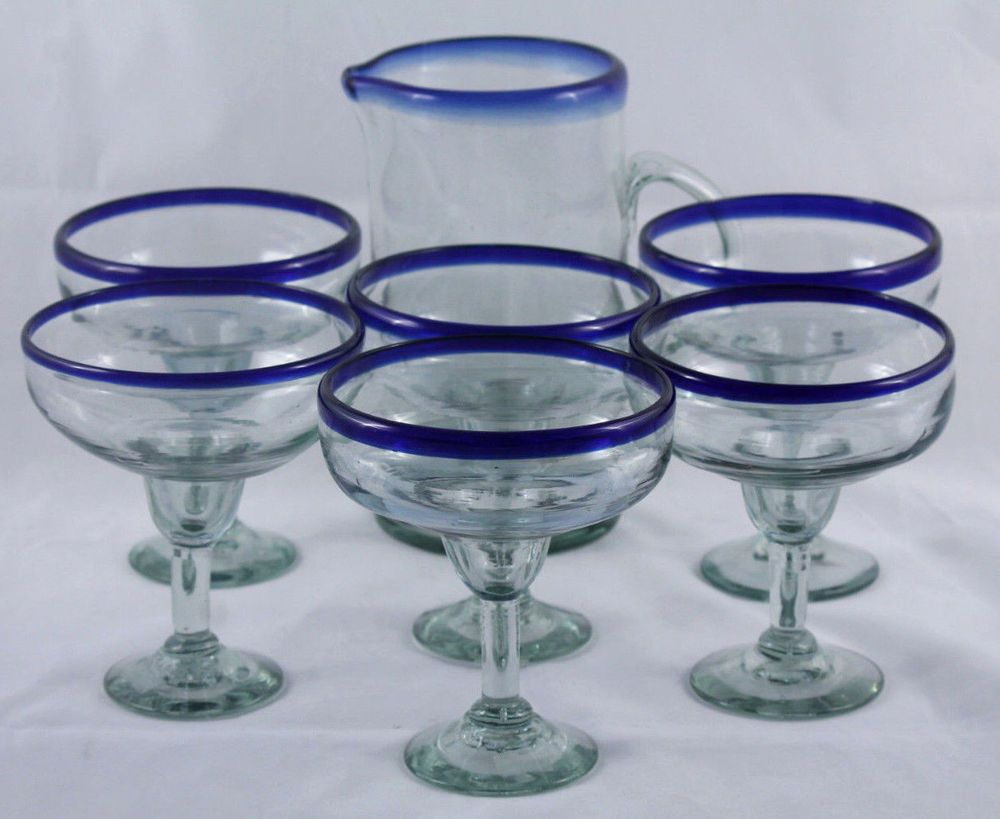 Mexican Glass Straight Sided Pitcher And 6 Margarita Glasses Cobalt Blue Rims Mexican Glass Mexican Glassware Margarita Glasses